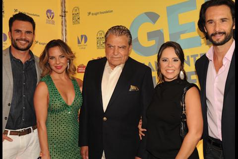 Juan Pablo Raba, Kate del Castillo, Don Francisco, Patricia Riggen and Rodrigo Santoro at GEMS 2015 closing night red carpet